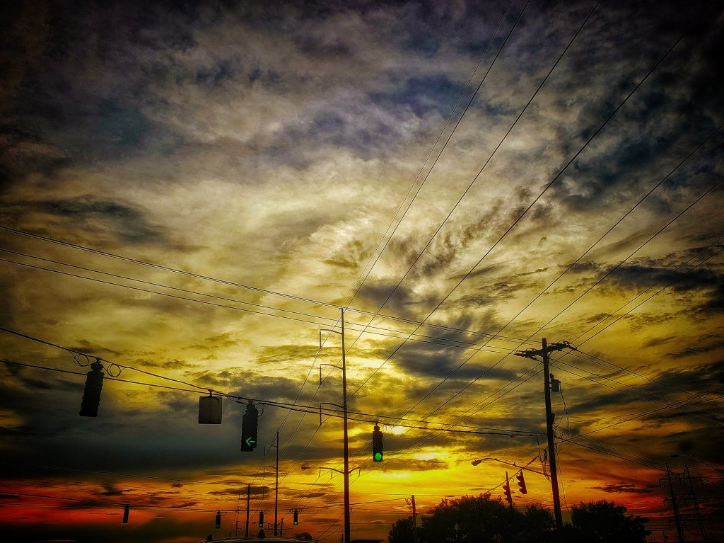 Sunset at the crossroads.